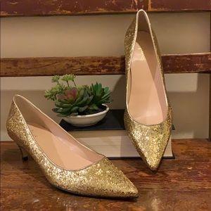 Cole Haan gold glitter Juliana pointy toe heels
